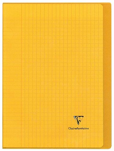 Clairefontaine 981406C - Un cahier piqué Koverbook 96 pages 24x32 cm 90g grands carreaux, couverture polypro (plastique) transparente, Jaune