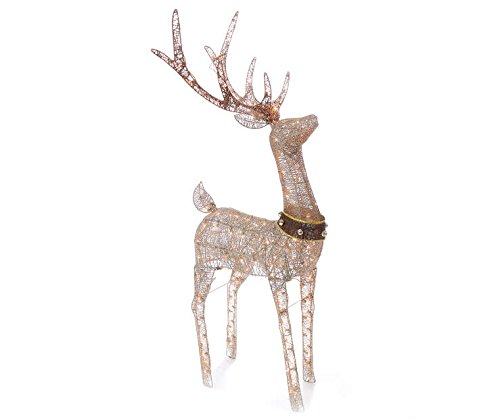 Pre-lit Glittering Champagne Buck Deer 5' Lawn Christmas Decorations