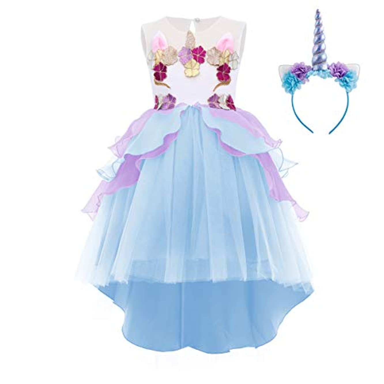 Little Girl Unicorn Party Dress Princess Flower Pageant Party High Low Tutu Dresses Birthday Outfit Halloween Costume
