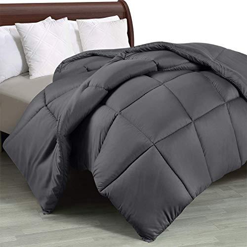 Utopia Bedding Piumone Piumino Singolo, 100% Microfibra in Fibra Cava - (Grigio, 135 x 200 cm)
