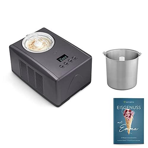 Eismaschine Emma 1,5 L mit selbstkühlendem Kompressor 150 W inkl. Edelstahl Zusatzbehälter, aus Edelstahl mit entnehmbarem Eisbehälter, inkl. Rezeptheft