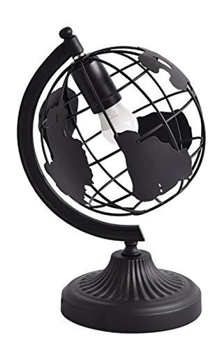 Mesilla de noche Escritorio simple lámpara moderna lámpara de mesa de hierro forjado lámpara de cabecera Tabla Tierra lámpara de escritorio Lámparas de luz/Noche (Color : Negro)