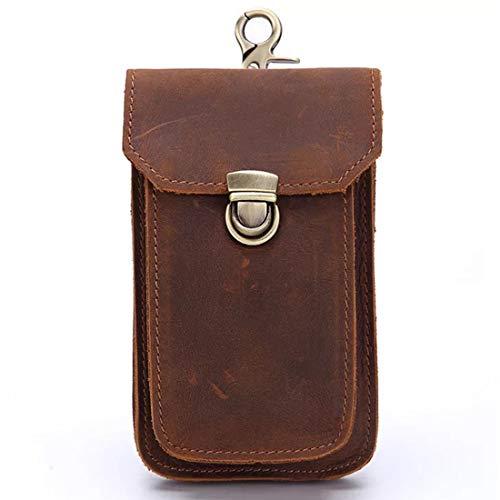 Boleke Mens Genuine Leather Small Hook Fanny Waist Bag Hip Bum Pack Cigaretee Pouch(Brown 2089)