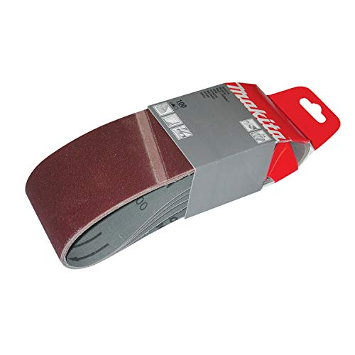 Makita P-36893 Lot de 5 bandes abrasives 100 x 610 mm à grain grossier 60 Rouge