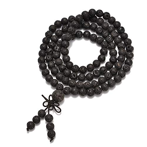 AD Beads Natural Gemstones Buddhist 108 Prayer Healing Beads Mala Stretchy Bracelet Necklace 6mm (Black Lava)