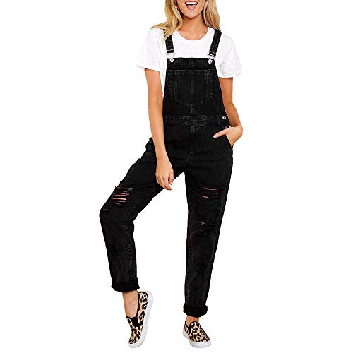 charmsamx Womens Ripped Denim Bib Jeans Overall Jumpsuit Jeans Casual Jogger Distressed Long Rompers with Pocket Cross Boundage Back Jeans Black,L