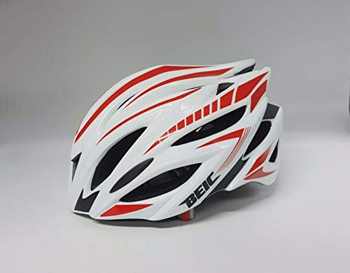 Beic Mars Road Bike Cycling Helmet with LED Rear Light (White/Red M-L)