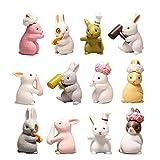 HanYoer 12 pcs Lovely Rabbits Animal Characters Toys...
