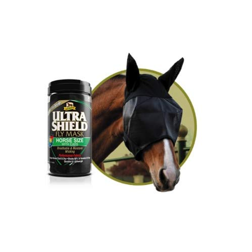 Absorbine Fliegenmaske mit Ohren Ultra Shield Fly Mask with Ears Größe Horse (for Average Horse, Small Warmblood)