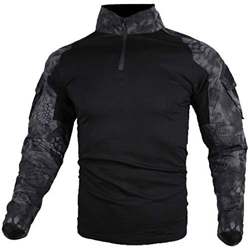 zuoxiangru Herren Taktisch Kampf T-Shirt, Ripstop Atmungsaktiv Multicam Hemd für die Jagd Militär Airsoft (Hm, Tag 4XL)