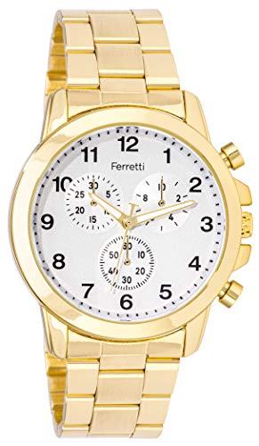 Ferretti FT168 - Reloj de diseño moderno con cronógrafo decorativo, dorado, Pulsera