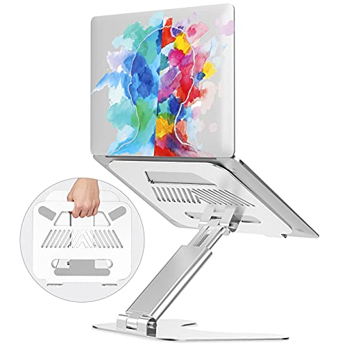 Ergonomic Laptop Stand for Desk/Table, Adjustable Height Up to 19',Foldable Laptop Riser Computer Stand,Portable Aluminum Laptop Holder,Laptop Desk Stand Fits MacBook,13 15 17 Inches Laptops