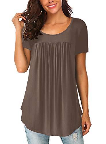 Yidarton Damen Kurzarm T-Shirt Sommer Falten Rundhals Shirt Oversize Oberteil (Kaffee, Large)