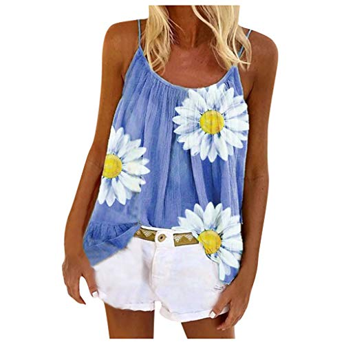 Aniywn Womens Beach Spaghetti Straps Vest Tee Shirt Ladies Floral Printing Large Size Tank Tops Flare Tops Sky Blue