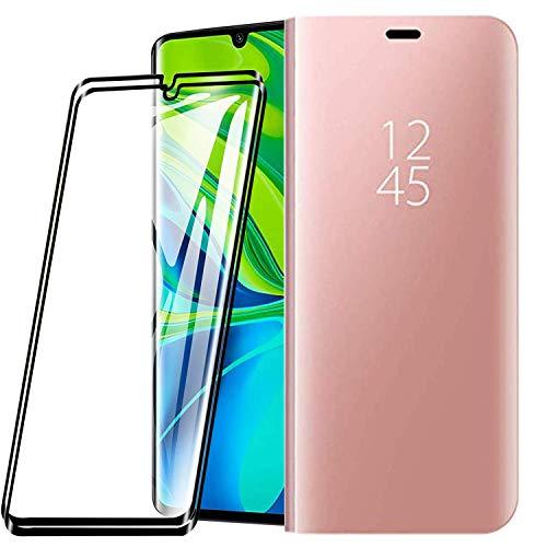 XIFAN Funda para Xiaomi Mi Note 10/Note 10 Pro, Elegante Espejo Brillante Standing Flip Funda, Modelo Inteligente Fecha Brillante del Caso Duro, Oro Rosa + 2 Piezas Protector de Pantalla