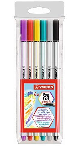 Caneta Stabilo Pen 68 Brush, Multicor, Estojo com 6 unidades