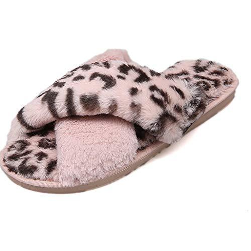 Chaussons Femme Fourré Pas Cher Pantoufles Hiver Chaud Confort en Laine Mignon Mules LéOpard Imprimé Souple House Chaussures Plates