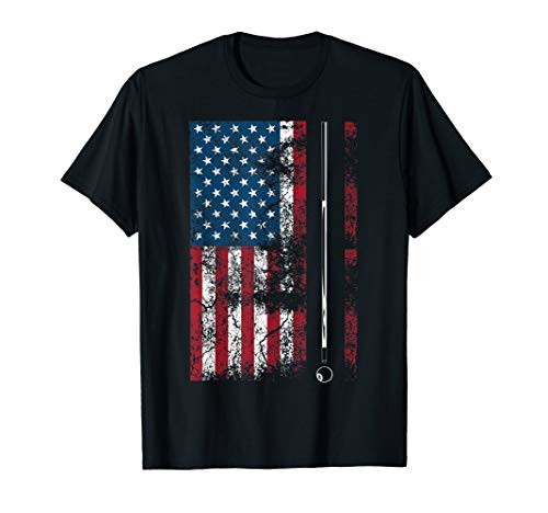 American Flag Billiard Stick Cute Table Game Funny USA Gift T-Shirt