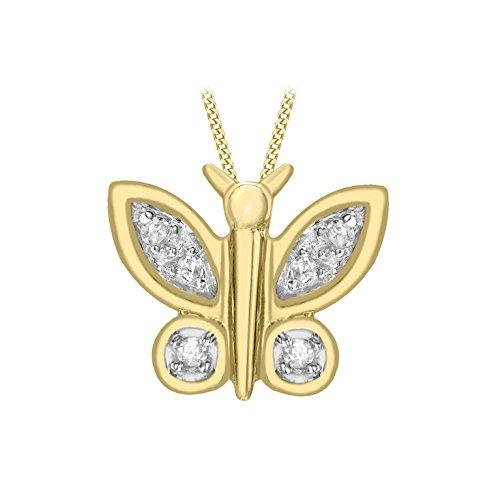 Carissima gouden hanger met ketting 9 karaat 375 geelgoud 0,05 karaat diamant vlinder 46 cm1.43.2384