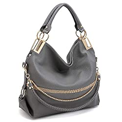 Grey With Rhinestone & Chain Top Handle Shoulder Bag