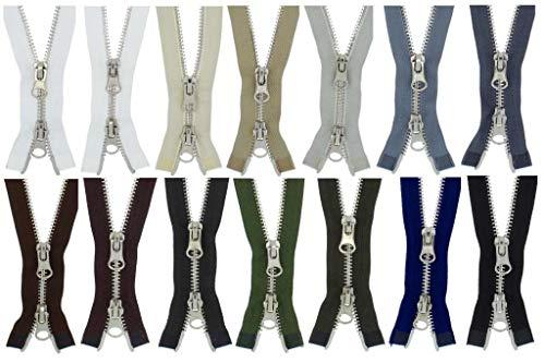 FIM 2 Wege Reißverschluss Metall Nr. 5 Silber, Zweiwege Metallreißverschlüsse teilbar Farbe: 1 - schwarz (322), 100cm lang