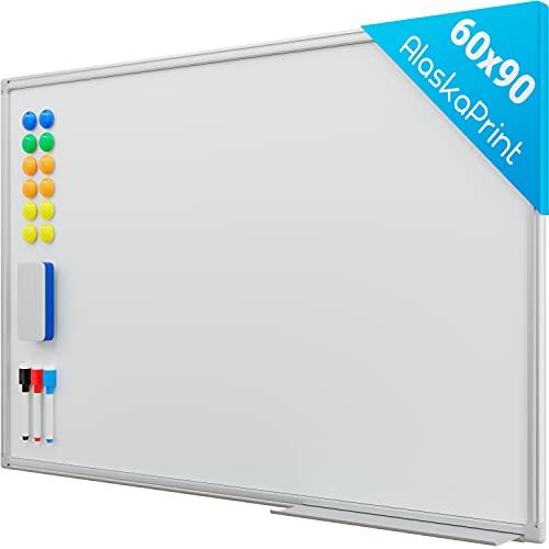 Alaskaprint Magnetisches Whiteboard Magnetwand magnettafel beschreibbar mit Alurahmen inklusive 3 Stiftablage, 12 Pinnwand Tafel und Schwamm 90cm x 60cm (B x H)