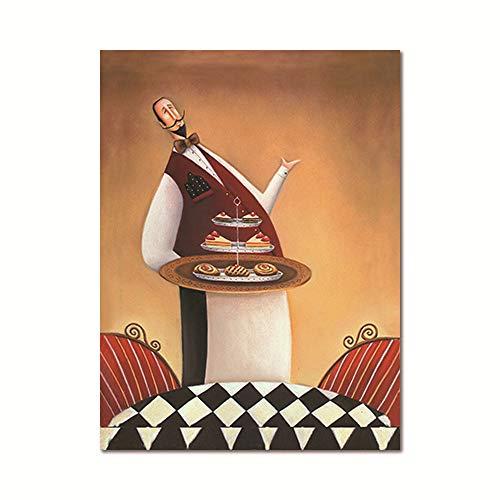 zgmtj Restaurant Kellner Leinwand Malerei Kaffeehaus Wandkunst Europäischen Retro Küche Poster Drucken Kreative Koch Esszimmer Bild