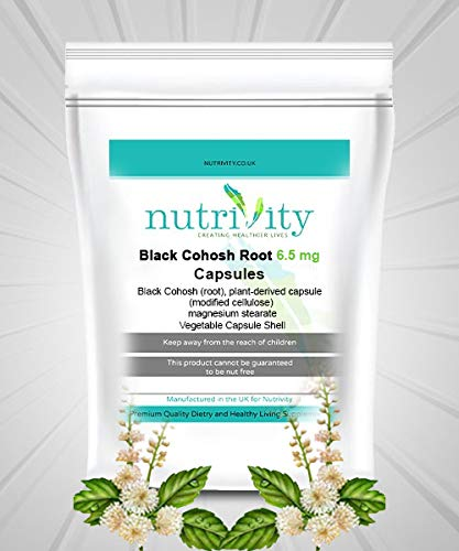 Black Cohosh Root 6.5 mg Veggie Capsules Menopause Relief Nutrivity UK (60)