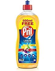 Pril Dishwashing Liquid - Lemon (1.5 Litres), with 5+ Self-Degreasing Action Power, Long-Lasting Formula for Stains Removal, and Elimination of Unpleasant Odours