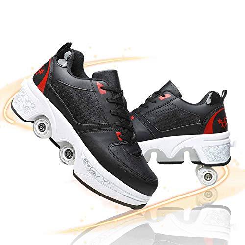 JYHGX Patines De Ruedas Mujer Deformados Zapatos con Ruedas Adultos Y Niños Multifunción 2 En 1 Zapatillas Casuales para Patinar Fiesta Cumpleaños Regalo