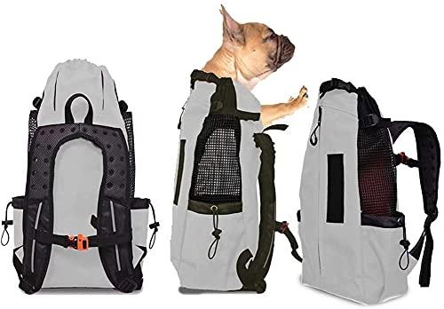 FLKENNEL Hunderucksack für mittelgroße kleine Hunde, Komfortrucksack-Tragetasche, Oberseite offen, weiche Seite, atmungsaktives Netz für Reisen, Wanderabenteuer, Camping im Freien,Gray,M