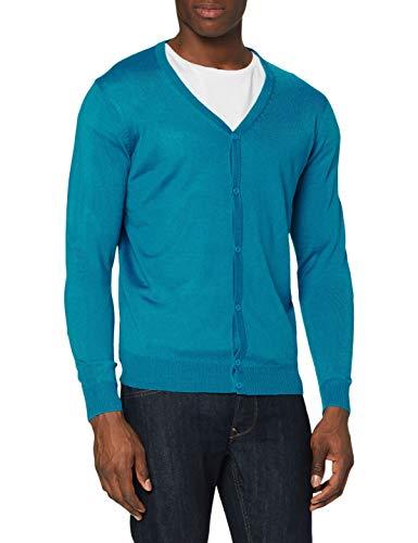 Urban Classics Herren Knitted Cardigan Pullover, Türkis (Turquoise 00217), Large