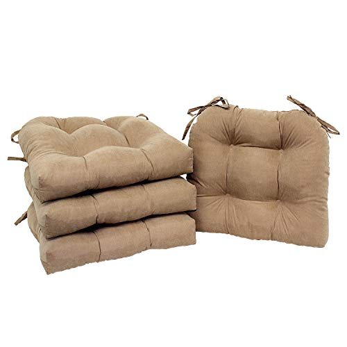 MNTR Interior Brown Beige Chair Pads Set of 4 Cushion Dining Chair Seat Pad Pillow Cover Mat Living Room Kitchen Office Den Stylish Modern Decor Decorative