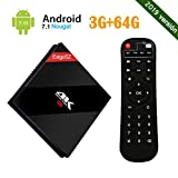 Android 7.1 EstgoSZ 4K TV BOX con Amlogic S912 Octa Core RAM 3GB ROM 64GB Smart TV Box con Control Remoto con Dual WiFi 2.4 GHz/5.0 GHz 1000M LAN Bluetooth 4.1 H.265
