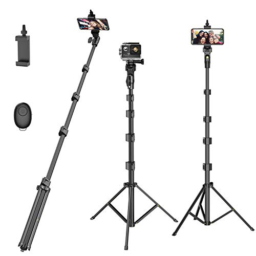 Selfie Stick Tripod,55 Extendable Camera Selfie Stick with Tripod Stand and Detachable Wireless Remote Shutter for Phone 6 7 8 X Xs 11 12, Galaxy S9 Note8, Gopro,Smart Phones,Digital Cameras