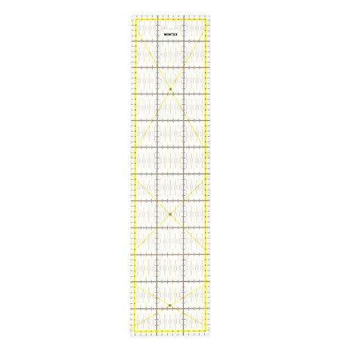 WINTEX Patchwork Lineal – Schneiderlineal 15x60cm, mit cm-Raster und Winkelanzeige – Rollschneider-Lineal, Nählineal, Schneidelineal – ideal zum Nähen und Basteln