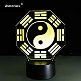 Predicción Feng Shui Taiji Bagua Lámpara Yin Yang Tai Chi Acht Trigrama Trigram Luz Nocturna Lámpara de Mesa de Oficina en el hogar Cultura Regalo