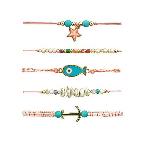 KIRIDA 5 PCS Summer Ocean Wave Bracelet for Teen Women Mens Boys Girls Bangle Gifts for Couples,Party Favors Bracelets Adjustable