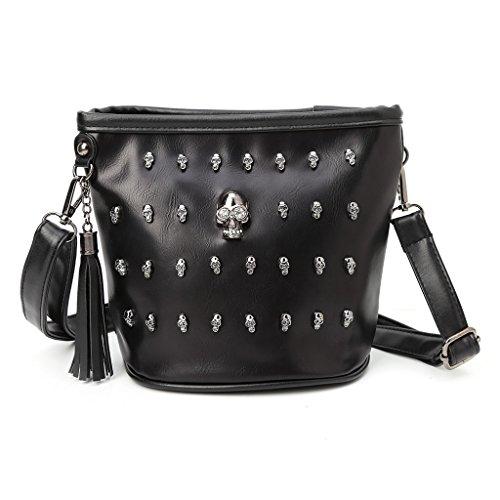Yunso Damen Tasche Handtasche, Mode Schädel Punk Goth Quaste Messenger Schultertasche Umhängetasche,Schwarz