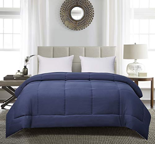 Blue Ridge Home Fashions Two-Tone Reversible Microfiber Down Alternative All Season Comforter-Hypoallergenic Polyester Fill, King, Navy/Light Blue