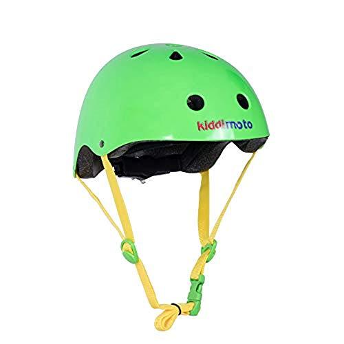 Kiddimoto KMH035M fietshelm voor kinderen, neongroen, maat M 5-14 jaar, neongroen, 53-58 cm