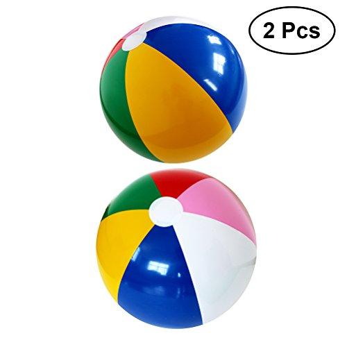 YeahiBaby 2pcs aufblasbarer Strandball Wasserball Strand Wasser Party Spielzeug (Regenbogen)