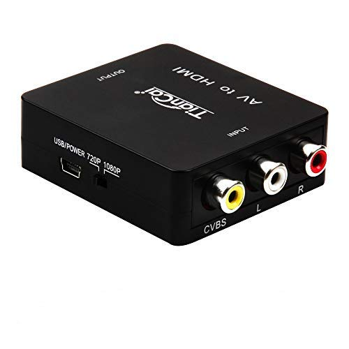 Tiancai 1080P AV Composite 3 RCA CVBS to HDMI Digital Signal Video Audio Converter for Blu Ray SKY HD VHS VCR DVD DVR-Blak