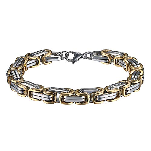 OIDEA Königskette Armband für Herren Edelstahl Herrenarmband Armreif Charmsarmband Armreif Armschmuck Armkette Gold