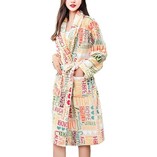 ZJML Damen Herbst Winter Bademantel Pyjama, Warme Korallensamt Nachthemd Robe, Bunte...