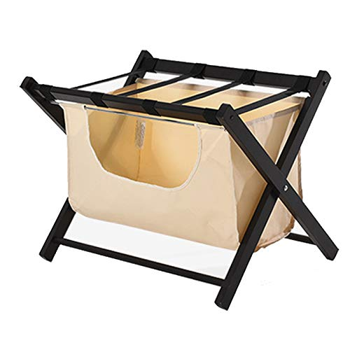 BAIYING Foldable Shelf, Pine Bracket Nylon Canvas Load-bearing 50kg Removable Easy To Clean Storage Rack, Hotel Home Suitcase Luggage Rack (Color : Black, Size : 63x45x50cm)