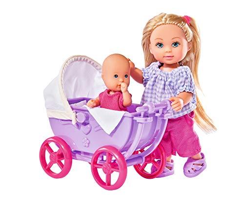 Simba 105736241 - Evi Love Doll Walk, 2-sort. / Evi Puppe mit Babypuppe / mit Puppenwagen / inklusive Zubehör / Ankleidepuppe / 12cm, für Kinder ab 3 Jahren