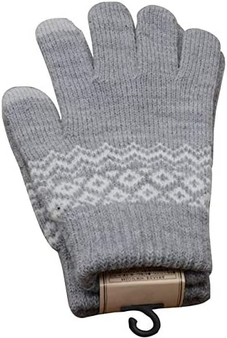 Knitted Gloves Men/Woman Touch Screen Girl Female Stretch Knit Gloves Mittens Winter Warm Knitting Printing Gloves Warm Gifts - (Color: GY)