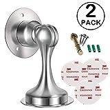 Shackcom 2 piezas Topes para Puertas succión Magnético-Acero Inoxidable - tope puerta adhesivo - para Pared o Piso-Incluye cinta de doble cara de 3M y tornillos - No es necesario perforar-Door stopper
