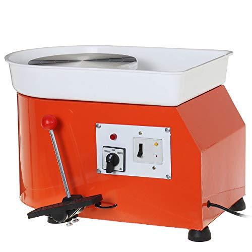 YGLONG Torno De Alfarero 220V 600W Turnando la máquina de la Rueda de cerámica eléctrica DIY Kit de Herramientas de cerámica Mini para el Trabajo cerámico 25cm Dia. Torno Ceramica